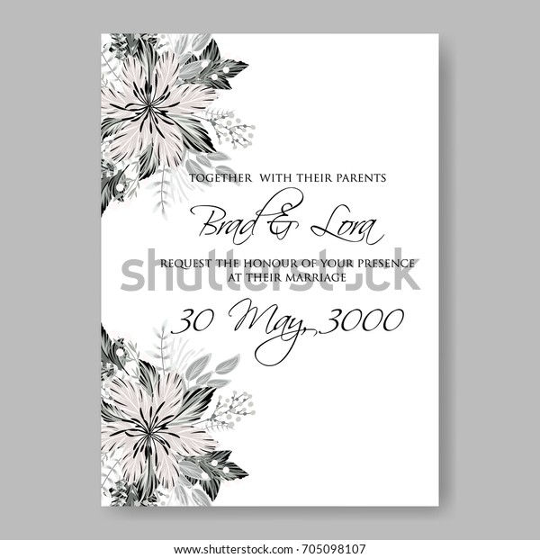 Autumn Floral Wedding Invitation Card Stock Vector Royalty