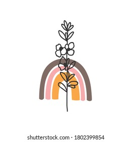 autumn flowers on an orange rainbow background, laconic flower, simple one line drawing, design elements,
