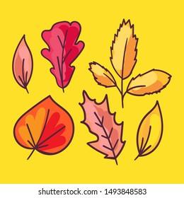 Autumn foliage hand drawn illustrations set. Tree leaves, herbarium isolated on yellow background