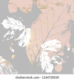 Autumn foliage rose gold blush background. Chic trendy print with botanical motifs