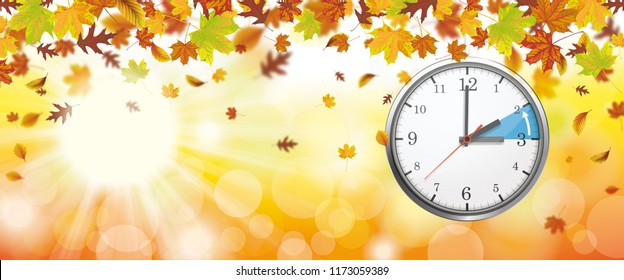 Autumn foliage with sunlights and clock for a time change to the standard time.  Eps 10 vector file.