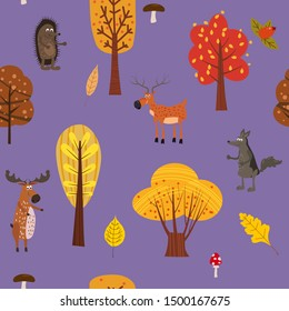 Autumn forest cute animals seamless pattern with trees leaves trendy flat cartoon style