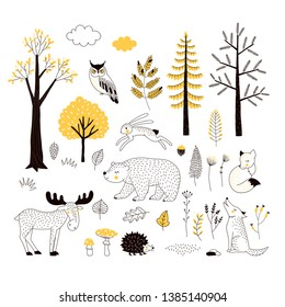 Autumn forest flat hand drawn illustrations set. Woody flora and fauna design elements. Woodland animals and trees clip-arts. Isolated scandinavian decorative nature wildlife creatures and plants.