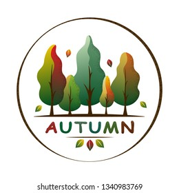 Autumn forest landscape in a circle. Fall tones trees and leaves. Ecology concept. Season greeting. For social media, web pages, banner, poster, education materials. Flat isolated vector illustration.