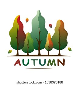 Autumn forest landscape. Fall tones trees and leaves. Ecology concept. Season greeting. For social media, web pages, banner, poster, education materials. Semi flat isolated vector illustration.