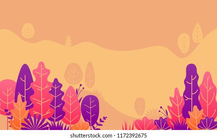 Autumn forest leaves flat illustration design. Vector fall trees and plants for gradation landscape background