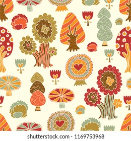 Autumn forest motifs. Seamless pattern can be used for wallpaper, pattern fills, web page background, surface textures