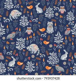 Autumn forest on blue background. Silver spruce, herbs, leaves, flowers.  Animals and birds - raccoons, owls, rabbits. Seamless pattern.