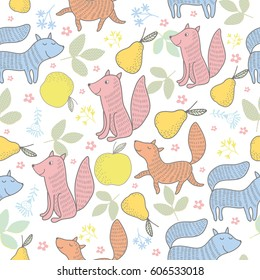 Autumn forest seamless pattern with cute animals. Seamless pattern