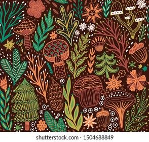 Autumn forest seamless pattern, Forest hand drawn vector texture. Branches, leaves, mushrooms, spruce, tree, fur-tree, acorn seamless texture. Folk wild nature background. Woodland childish