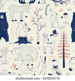Autumn Forest seamless vector pattern. Woody landscape with Bear Deer Hare Wolf Moose Fox Owl Squirrel creatures repeatable background. Woodland childish print in Scandinavian decorative style. Cute