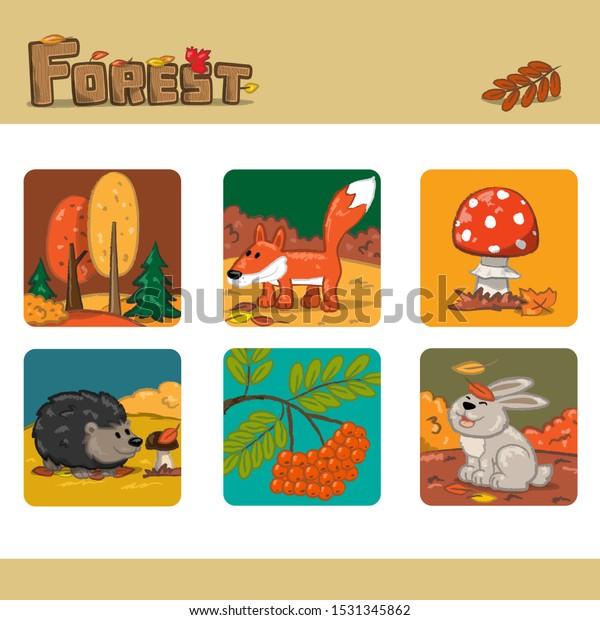 Autumn forest set 1. Vector Illustration