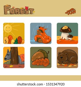 Autumn forest set 2. Vector Illustration