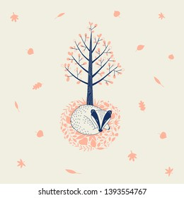 Autumn Forest themed vector illustration. Cute badger sleeping in fall leaves under the tree graphics. Woodland childish print in Scandinavian decorative style. Cute forest tree animal poster t-shirt