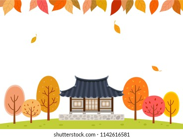 Autumn forest with Traditional Korean house.Mid Autumn Festival(Chuseok) Background.