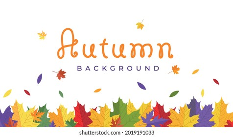 Autumn Frame with colorful blowing maple leaves isolated on white background. Flat style vector illustration. Fall border background design template for card, banner, poster, sale, leaflet, flyer etc.