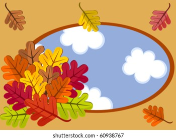 Autumn frame with colorful bouquet of leaves. Window with a view on sky. Vector illustration