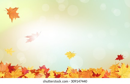 Autumn  Frame With Falling  Maple Leaves on Sky Background. Elegant Design with Rays of Sun. Vector Illustration.
