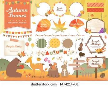 Autumn / Frame / Illustration / Line Material Set