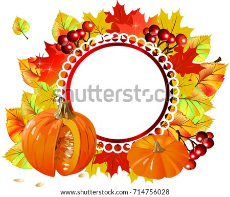 Autumn Frame Labels Stickers Packaging Goods Stock Vector Royalty