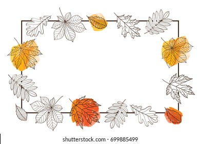 Autumn frame with leaves of different trees. Sketch, doodles, design elements. Vector illustration.