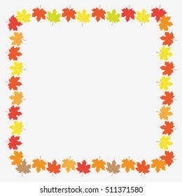 Autumn frame with maple leaves on white background. Flat vector illustration.