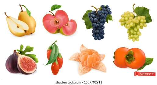 Autumn fruits and berries. Pear, pink apple, white sweet grape and wine grape, fig, goji berry, persimmon fruit. 3d realistic vector set