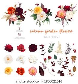 Autumn garden vector design big set. Boho chic wedding. Warm fall and winter tones. Orange red, taupe, burgundy, brown, cream, gold, beige, sepia autumn colors. Rose flower, dahlia, peony, ranunculus.