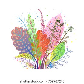 Autumn Gentle Fall Leaves Composition. Leaf and grass clipart bouquet, transparent leaves. Vector design.