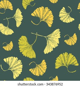 Autumn ginkgo leaves seamless pattern