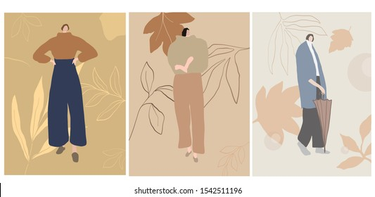 Autumn girl trendy. Modern portrait of a woman dressed in casual clothes pastel colors. Flat isometric female figure.