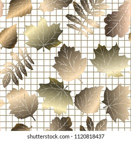 Autumn gold leaves seamless pattern, golden texture