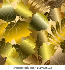 Autumn golden leaves, gold seamless pattern