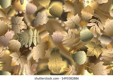 Autumn golden leaves, seamless pattern