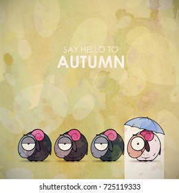 Autumn greeting card with funny animal character.