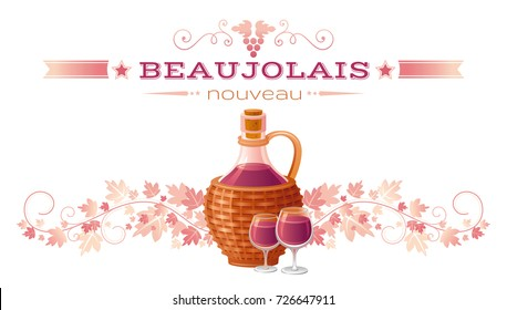 Autumn greeting card. Harvest festival poster. Fall party invitation design. Beaujolais nouveau means french wine holiday, white background isolated, vineyard, bottle, glass, farm vector illustration