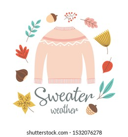 autumn greeting card with pink sweater, falling leaves, branches, acorn, nut and hand written text sweater weather, bright background for fall season, cute frame with autumn lettering