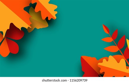 autumn greeting card template. Fall illustration with paper cut orange, red and yellow leaves. banner in trendy craft style.