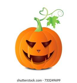 Autumn halloween Pumpkin vector isolated on white background