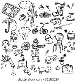 Autumn hand-drawn doodle set in cartoon style