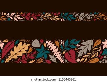 Autumn hand-drawn seamless borders.Vector decorations
