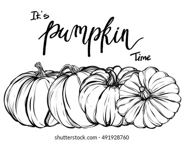 Autumn,  handmade, card for you, vector,pumpkins,Coloring book page design for kids and adults