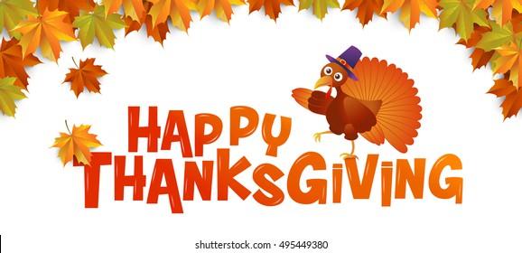 autumn ,Happy Thanksgiving, Typography ,turkey ,vector Illustration, Maple leaves Background