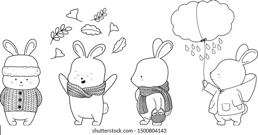 Autumn hares and bunnies with warm scarf, coat, leaf outline contour. Cute digital stamp and coloring page line art for children and kids in vector format