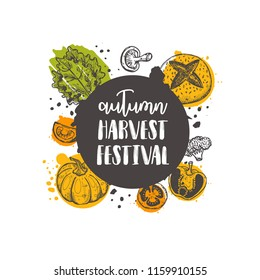 Autumn harvest festival. Farm product. Organic concept design. Hand drawn vector illustration with vegetables. Can be used for farmers market, food festival, poster, banner, sticker, emblem