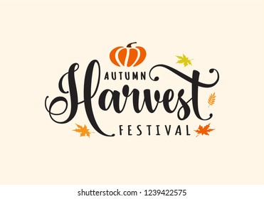 Autumn Harvest Festival. Hand sketched autumn lettering Harvest Festival with pumpkin. Modern calligraphy. Handwritten vector illustration isolated on white background for cards, posters, banner, logo