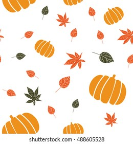 Autumn Harvest Festival Pattern. Fall seamless background with pumpkins and leaves. Good as a pattern for Fall Fest or Harvest party, or autumn restaurant menu. Fall season texture.