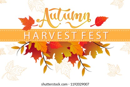 Autumn harvest festival poster, , leaves and floral elements in fall colors.Harvest fest design perfect for prints, flyers,banners,invitations and more.Vector autumn illustration.