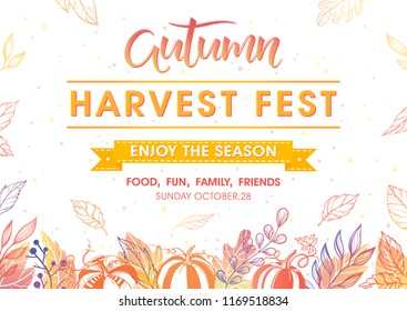 Autumn harvest festival poster with harvest symbols, leaves and floral elements in fall colors.Harvest fest design perfect for prints, flyers,banners,invitations and more.Vector autumn illustration.