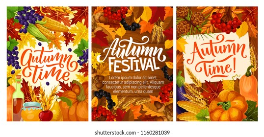 Autumn harvest festival posters with fall leaves. Maple syrup and honey, grapes and cranberry, acorn and pear, mushroom and corn, pumpkin or squash and currant, wheat spikes and viburnum vector
